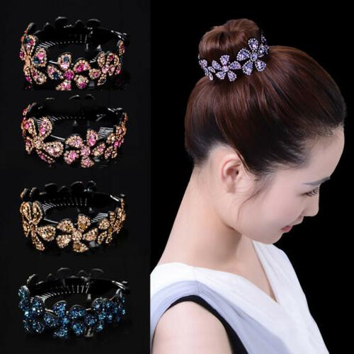 women girls hair clip crystal claw ponytail