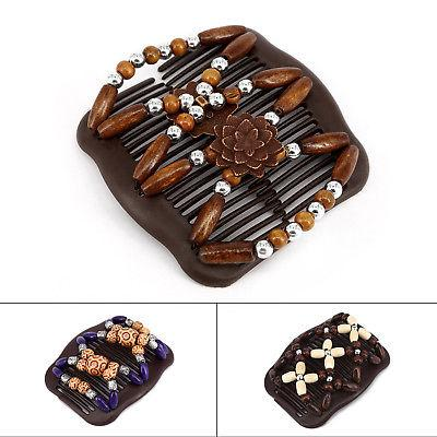 Women's Hair clip Girls Comb Chic Easy Wood Bead Double Acce