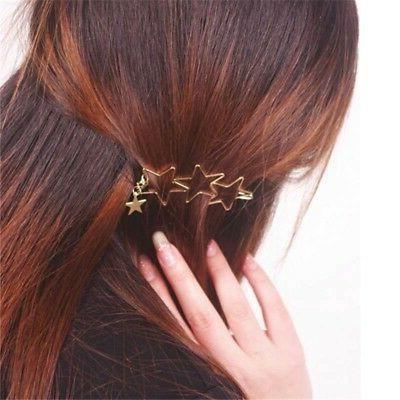 Women Stars Shape Hair Clip Ornament Hollow Star Decor