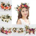 Women Wedding Faux Flower Wreath Crown Headband Floral Garla