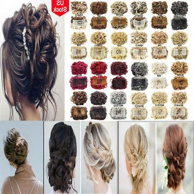 women wrap clip brown synthetic curly hair