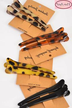 """Leopard hair clips 4"""" long  - each set sold separately"""