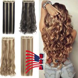 """Long 24-30"""" One Piece 5 Clips Clip on Synthetic Long Wavy Hu"""
