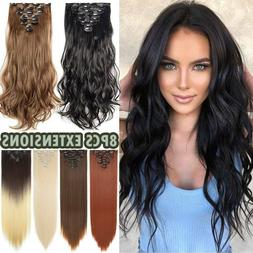 Long Thick 8 Pieces Clip In Hair Extension Full Head Natural