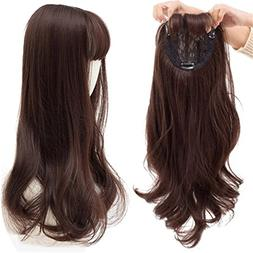 "22"" Long Wavy Clips in Top Hairpieces with Mini Air Bangs Sy"