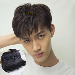 Men's 100%  Real Human Hair Clip in Hair Extension Cover Thi