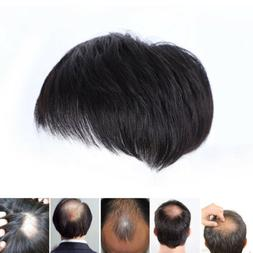 Men's Black Human Hair Topper Toupee Clip Hairpiece Top Shor