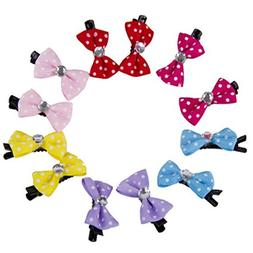 Quietcloud 10Pcs/pack Mini Cute Bow Pet Dog Cat Hairpin Char