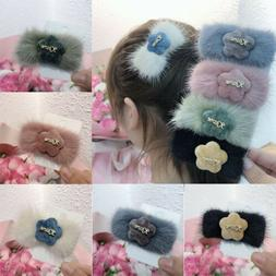 Men Women's Cloth Mink Hair Clip Autumn Winter Flower Hairpi
