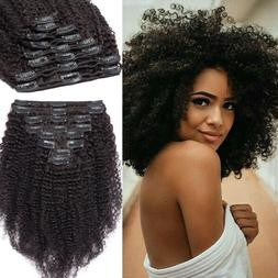 Mongolian African Afro Kinky Curly Hair Clip In Human Hair E