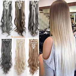 Natural New Hair Clip in Hair Extensions 8 Pieces Full Head