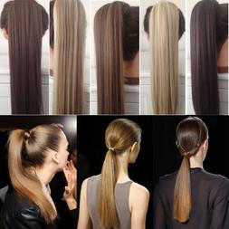 NATURAL Ponytail Clip In Hair Extension Wrap Pony Tail Fake