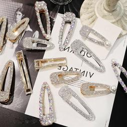 Womens Girl Crystal Hairpin Hair Clips Stick Barrette Bobby