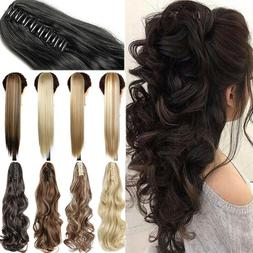 NEW Ponytail Clip In Natural Hair Extensions Claw On Pony ta