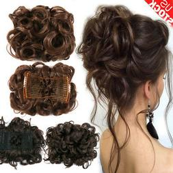New Women Comb Clip In Curly Hair Piece Chignon Hair Extensi
