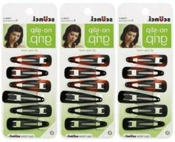 Scunci No Slip Snap Clippies 5cm 3 Packs of 6 Count pack