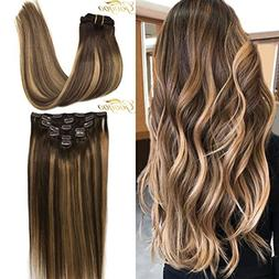 Googoo 22inch Ombre Clip in Hair extensions Chocolate Brown