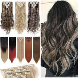 Ombre mix As Human Real Natural Clip in Hair Extensions Full