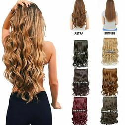 One Piece 5 Clips Clip on Synthetic Long Wavy Straight Hair