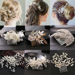 Pearl Flower Crystal Hair Pins Clips Bridesmaid Side Comb We