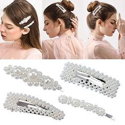 4 Pack Pearl Hair Clips for Girls Women Wedding Bridal Faux