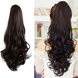 Ponytail Hair Pieces 24 Inch Curly Claw Clip Synthetic Pony