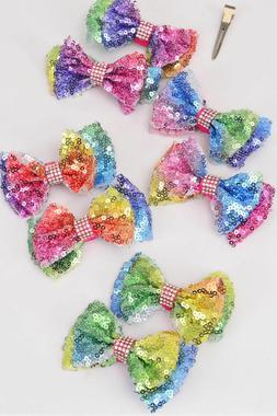 Rainbow sequin bow hair clips - medium size - alligator clip