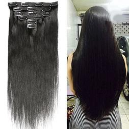 "HEBE 16"" Real Human Hair Clip In Extensions 100% Brazilian V"