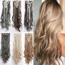 Real Natural 8 Pieces 18 Clips Clip In as Human Hair Extensi
