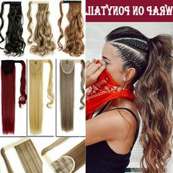 Real Silky Wavy Straight Drawstring Ponytail Clip in Fake re