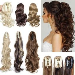 Real Thick Claw Ponytail Hair Piece Clip in Hair Extensions