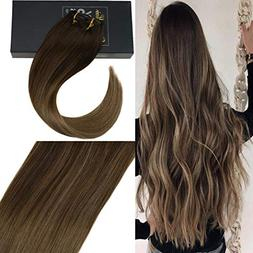Sunny 24inch 7pcs Double Weft 100% Remy Human Hair Clip in E