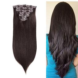 "20"" Remy Human Hair Clip in Extensions Straight Dark Brown 7"