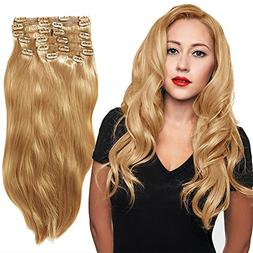 YONNA Remy Human Hair Clip in Extensions Double Weft Long So
