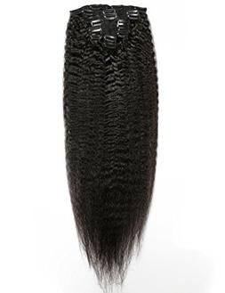 Slove Hair Remy Kinky Straight Clip in Hair Extensions for B