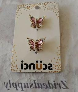Scunci Butterfly Jaw Hair Clips Jeweled PINK & GOLD 2 pcs #5