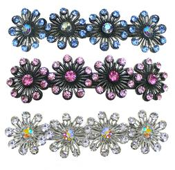 Set of 2 Crystal Metal Barrettes Snow Flakes Hair Clip Frenc