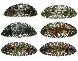 Bella Set of 3 Oval Barrettes Hair Clips, Catseyes/Crystals