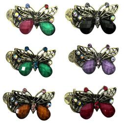 Set of 6 - 3 Pairs Bella Butterfly Slide Hair Clips Small Be