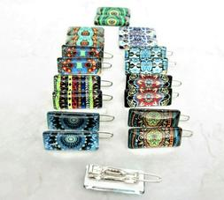 Set of two tiny small decorative tile hair clips barrettes f