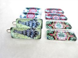 Set of two tiny small decorative tile mosaic hair clips barr