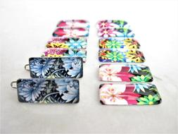 Set of two tiny small floral tile hair clips barrettes for f