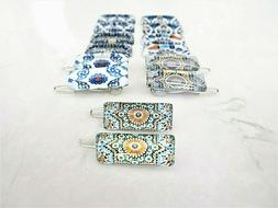 Set of two tiny small mosaic glass tile hair clips barrettes