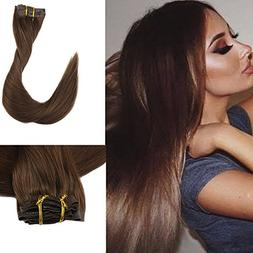 """Full Shine 8 Pieces 16"""" 120g Seamless Remy Clip on Hair Exte"""