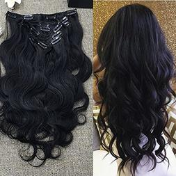 "Full Shine 10"" 7 Pcs 100g Body Wave Clip in Wavy Human Hair"