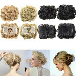 Short Messy Curly Hair Bun Chignon Stretch Hair Combs Ponyta