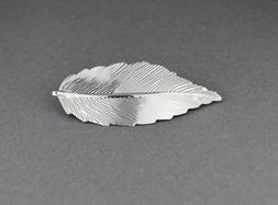 "Silver leaf metal barrette curved hair clip leaves 4"" long s"