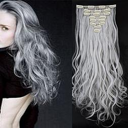 24 Inches Silver Grey Long Curly Wavy Clip in on 8 Pieces Fu