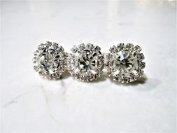 Small silver crystal flower hair pin clip barrette for fine