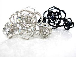 Small silver or black metal crystal flower hair claw clip br
